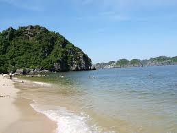 Nước biển ở bãi Cát Dứa rất trong và sạch