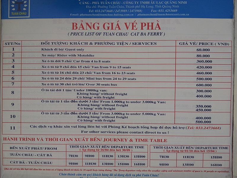 Bảng giá vé, giờ xuất bến Phà Tuần Châu 2018